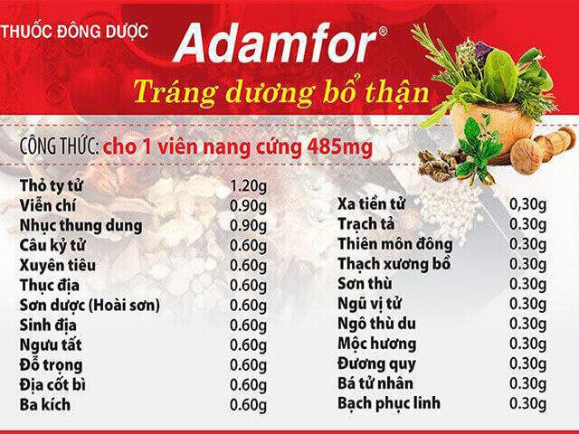 Thành phần của thuốc Adamfor
