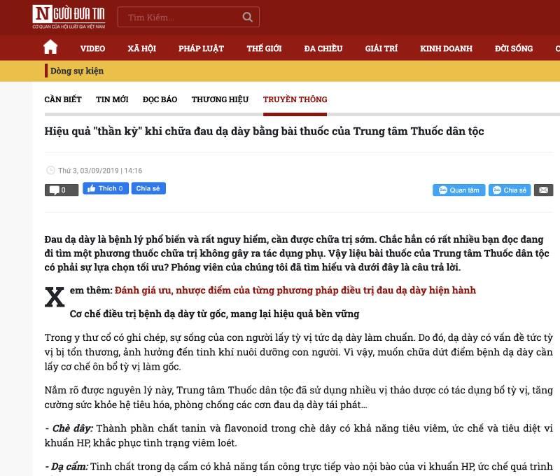 Nhận xét của chuyên gia về bài thuốc Sơ can Bình vị tán trên báo Người đưa tin